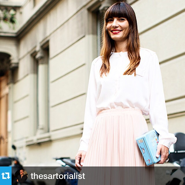 #Repost from @thesartorialist  Love the haircut! When you have a great smile like Daniela it's smart to put money into a great haircut and draw as much attention to your face ( and smile) as possible  #happy #streetstyle #heartattack ?