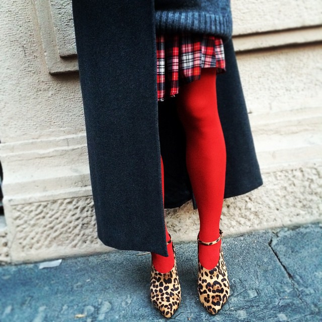 #oggiholafregoladi pretty in red. #tartan + #red + #animalier + #grey ? #inspiration #streetstyle #streetchic #morning #fashion #style #fall2014
